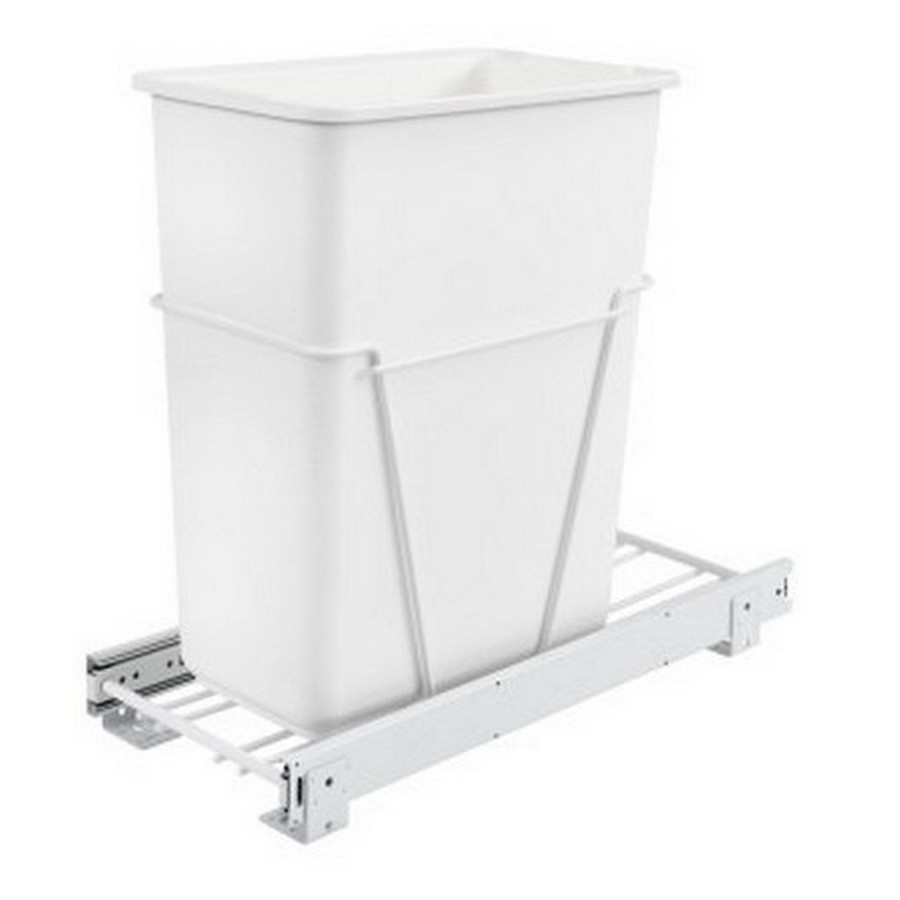 RV-9PB Single 30 Quart Bottom Mount Waste Container White Rev-A-Shelf RV-9PB