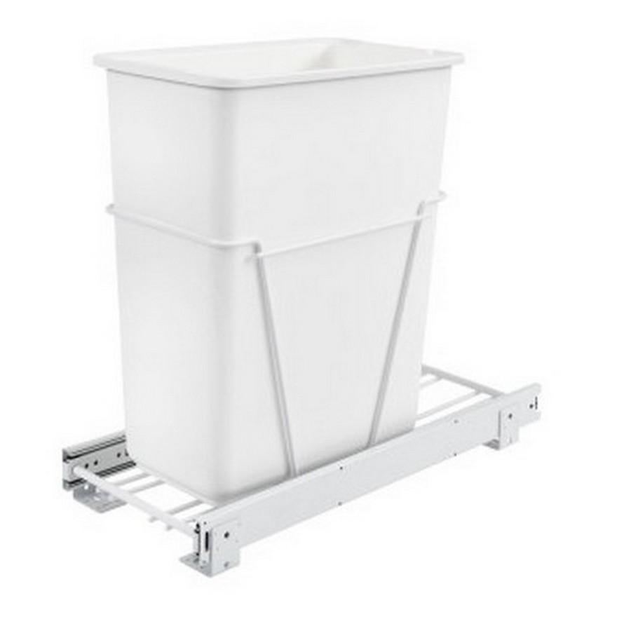 RV-9PB Single 30 Quart Bottom Mount Waste Container 3/4 Extension White Rev-A-Shelf RV-9PB