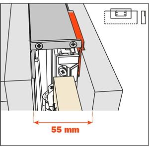 Salice Pocket Door Lateral Kit 55mm for Cabinet Depth 400-650mm, YE55KIT0005