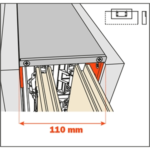Salice Pocket Door Lateral Kit 110mm for Cabinet Depth 650-900mm, YE55KIT0004