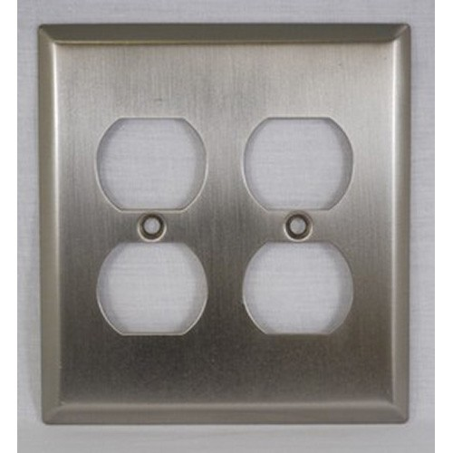 WE Preferred SZBH15-SN, Double Outlet Cover, Satin Nickel, Builders Hardware Collection