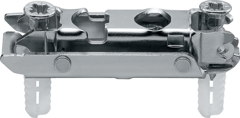 Blum 177H3100E CLIP Series Frameless Cam Adjustable 0mm Inline Mounting Plate, EXPANDO Dowels