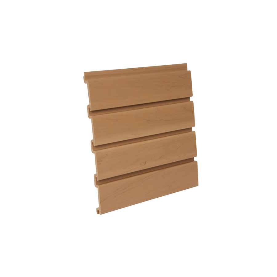 "4' L x 12-1/4"" H Slatwall Panel, Heavy-Gauge PVC, Oak, Bulk-8, HandiSOLUTIONS HSW6004"