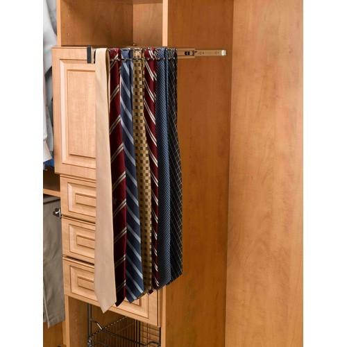 Rev-A-Shelf TRC-12CR - 12in Side Mount Tie Rack, Chrome