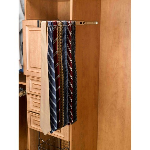 "12"" Pullout Side Mount Tie Rack Satin Nickel Rev-A-Shelf TRC-12SN"