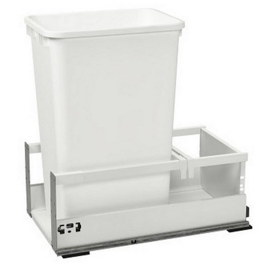 TWCSC Single 50 Quart TANDEM Bottom Mount Waste Container White Rev-A-Shelf TWCSC-1550DM-1