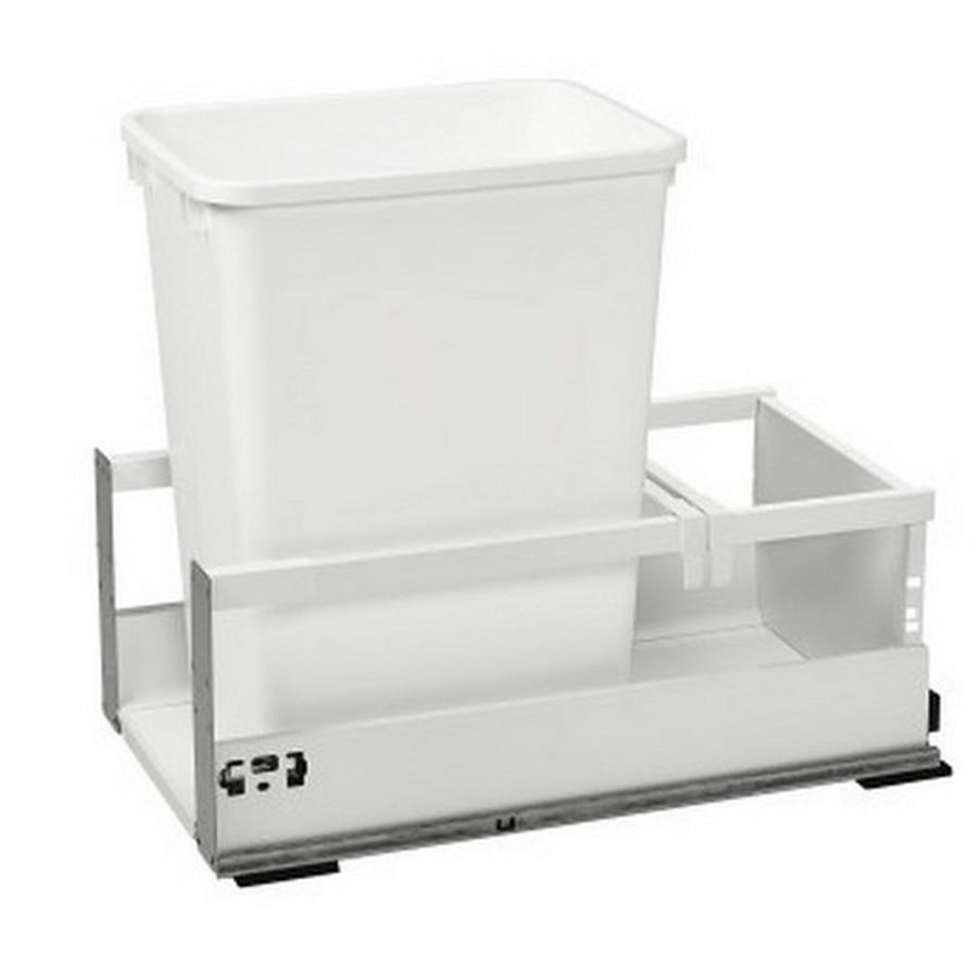 TWCSC Single 35 Quart TANDEM Bottom Mount Waste Container White Rev-A-Shelf TWCSC-15DM-1
