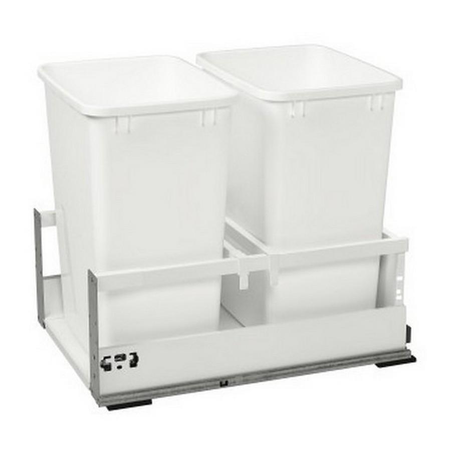 TWCSC Double 35 Quart TANDEM Bottom Mount Waste Container White Rev-A-Shelf TWCSC-18DM-2