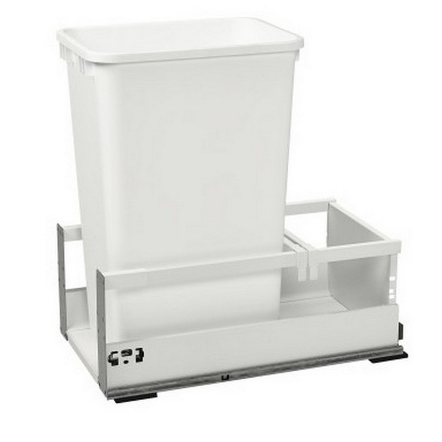 TWCSD Single 50 Quart SERVO-DRIVE Bottom Mount Waste Container White Rev-A-Shelf TWCSD-1550DM-1