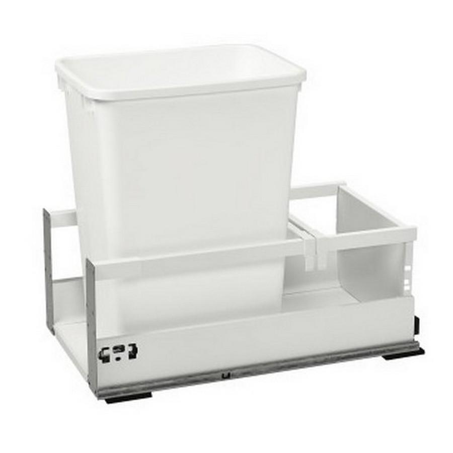 TWCSD Single 35 Quart SERVO-DRIVE Bottom Mount Waste Container White Rev-A-Shelf TWCSD-15DM-1