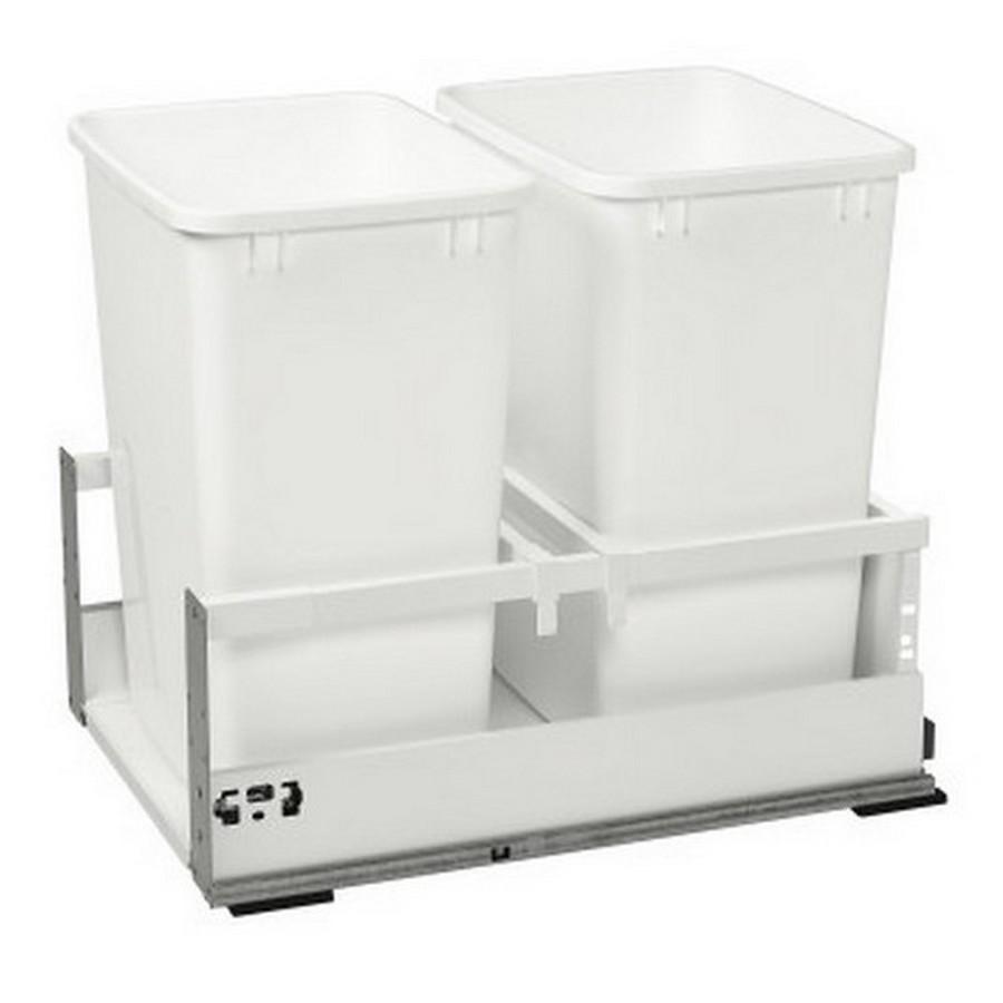 TWCSD Double 35 Quart SERVO-DRIVE Bottom Mount Waste Container White Rev-A-Shelf TWCSD-18DM-2