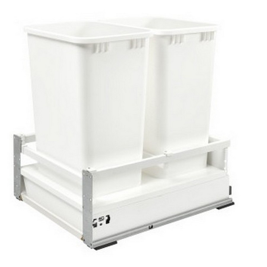 TWCSD Double 50 Quart SERVO-DRIVE Bottom Mount Waste Container White Rev-A-Shelf TWCSD-2150DM-2