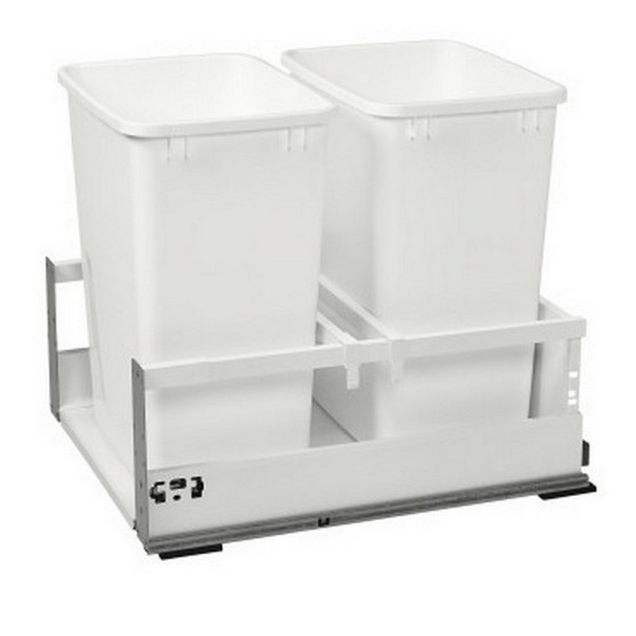 TWCSD Double 35 Quart SERVO-DRIVE Bottom Mount Waste Container White Rev-A-Shelf TWCSD-21DM-2