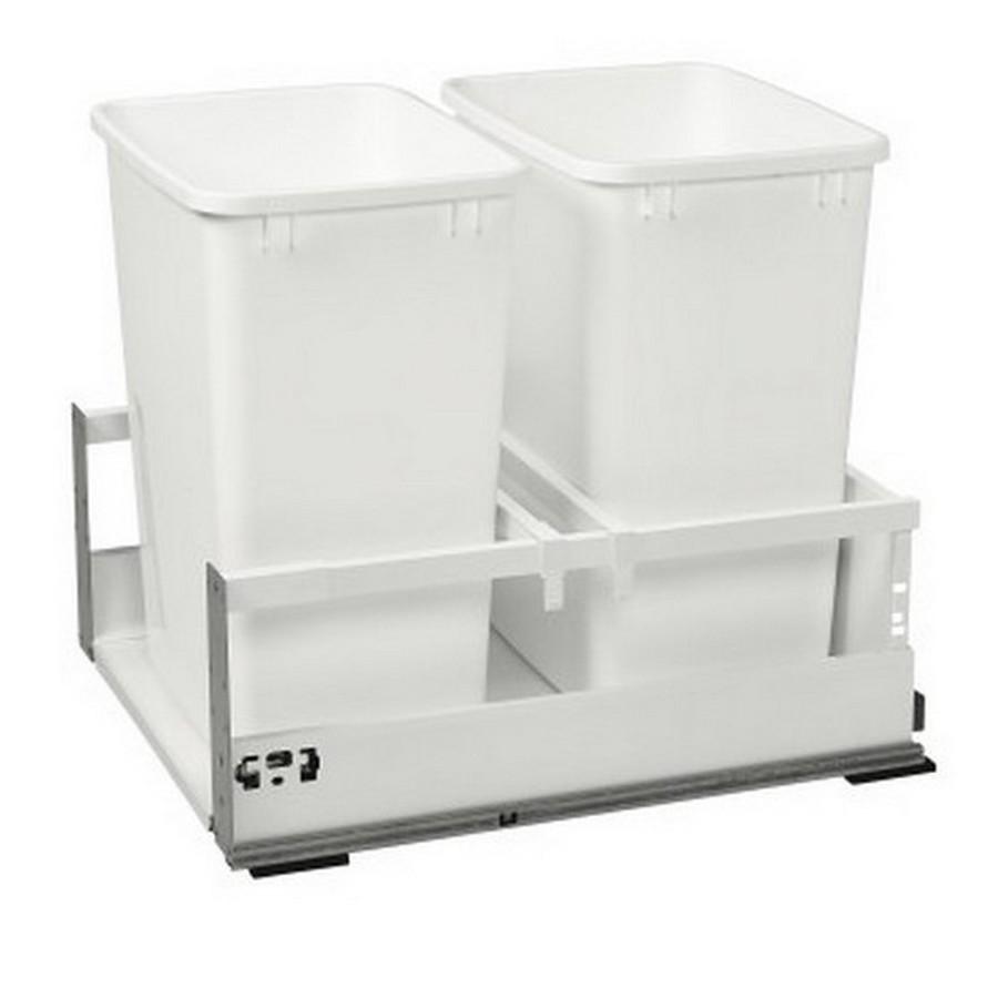 TWCSD Double 35 Quart SERVO-DRIVE Bottom Mount Waste Container White Rev-A-Shelf TWCSD-21DM-2