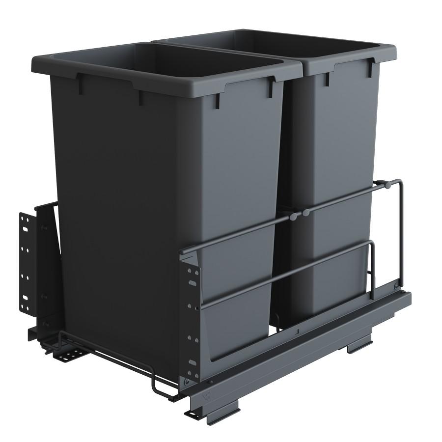 "ENVI BMT Saphir 18"" Double 50 Quart Bottom Mount Waste Container Carbon Steel Gray Vauth-Sagel"