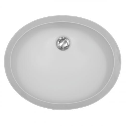 """Acrylic Oval Vanity Undermount Single Bowl 19"""" x 15-1/2"""" White Karran A-306-WHITE"""