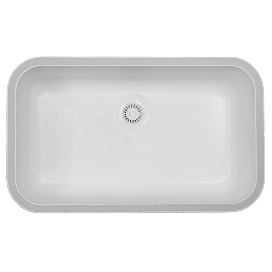 """Acrylic Undermount Kitchen Sink Single Bowl 30-1/2"""" x 18-1/2"""" White Karran A-340 WHITE"""