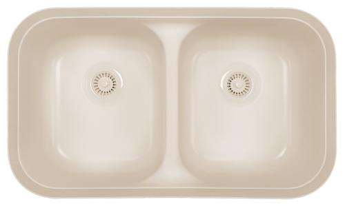 "Acrylic Undermount Kitchen Sink Double Equal Bowl 32-3/4"" x 19-1/4"" Bisque Karran A-350 Bisque"