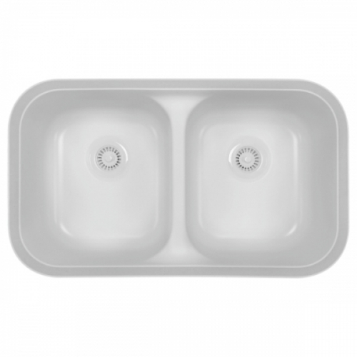 "Acrylic Undermount Kitchen Sink Double Equal Bowl  32-3/4"" x 19-1/4""  White Karran A-350-WH"