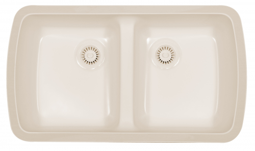 "Newport Undermount Acrylic Kitchen Sinks Double Equal Bowl 31-5/8"" x 19"" Bisque Karran NEWB"