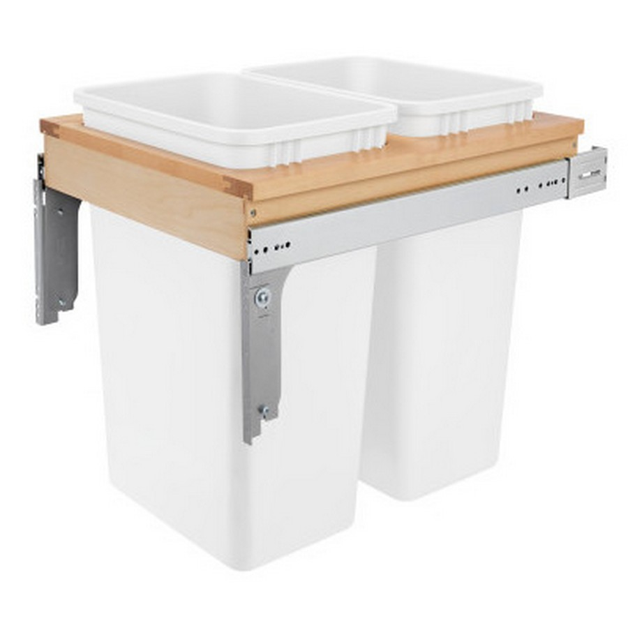 4WCTM Top Mount Double 50 Quart Waste Container Maple Rev-A-Shelf 4WCTM-2150DM-2