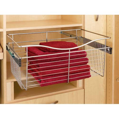Rev-A-Shelf CB-181618SN-1 - Wire Basket 16inD Closet Pullout Basket, Satin Nickel