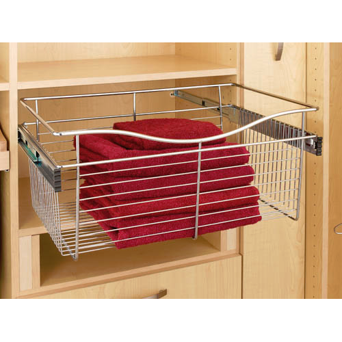 Rev-A-Shelf CB-182018SN-1 - Wire Basket 20inD Closet Pullout Basket, Satin Nickel