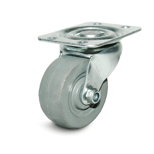 DH Casters C-GD20MRS, Plate Mount Swivel & Rigid Caster, Medium Duty, 2in, 125lb Capacity, Plate Size 1-7/8 x 2-9/16in