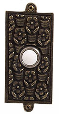 Emenee DB1005ABS, Doorbell, Floral, Antique Bright Silver Doorbell