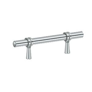 "Deltana P310U26, Adjustable Bar Pull 2"" to 4-1/4"" (59mm - 108mm) Centers, Polished Chrome"