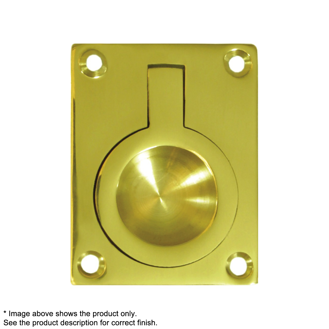 Deltana FRP175CR03, Flush Ring Pull, 1-3/4 x 1-3/8, Lifetime Brass