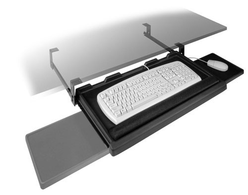 "Fulterer FR1602BL, Pull-Out Keyboard Tray with Mouse Tray, 24.57"" x 14.96"" x 4.96"", Black"
