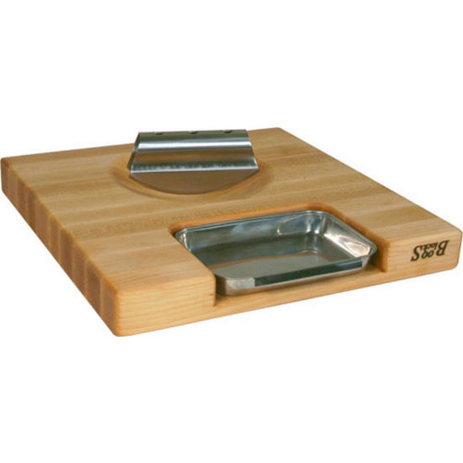 John Boos PM18180225-P-RK 18 W Cutting Board with Juice Pan, Gift Collection Newton Prep Master II, Maple, 18 L x 18 W x 2-1/4 Thick