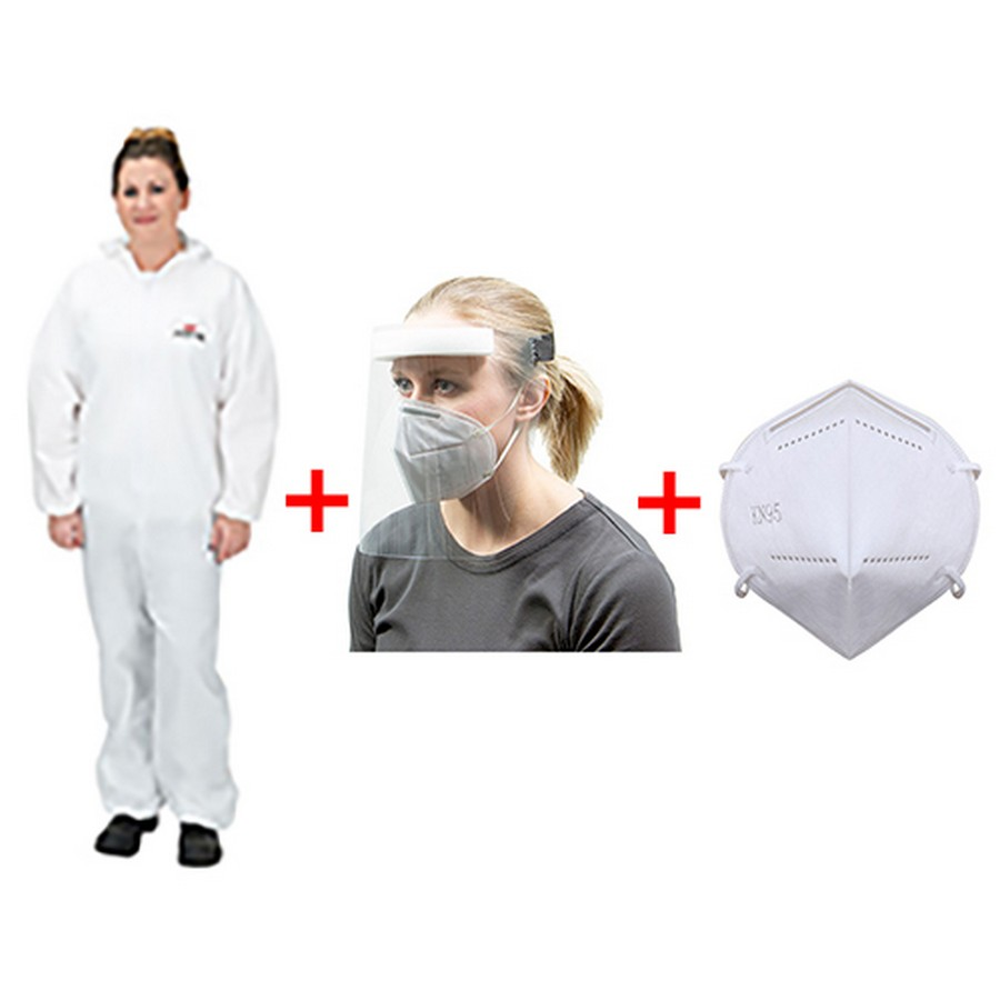 Emergency Kit 2 Size 4XL - Coveralls, Face Shield and KN95 Face Masks-Box of 10 WE Preferred EMERGENCYKIT24XL