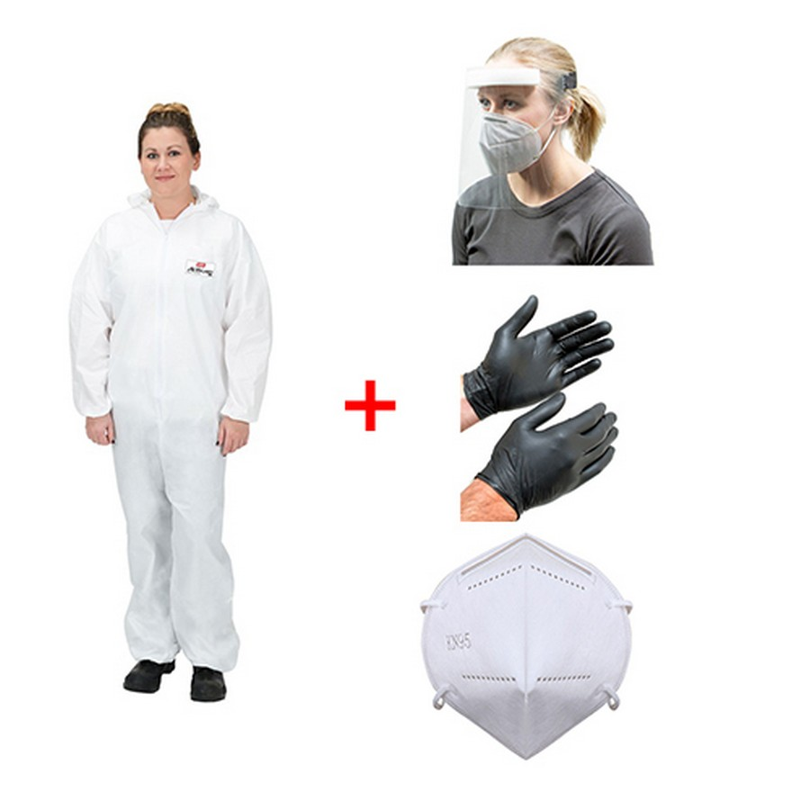 Emergency Kit 3 Size XL - Coveralls, Face Shield, KN95 Face Masks-Box of 10 and Black Nitrile Gloves Size XL-Box of 100 WE Preferred EMERGENCYKIT3XL