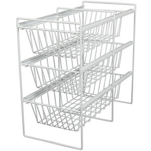 KV VBA14-3-W, 14in Vegetable Bin 3-Shelf Pull-Outs, KV Series, White Wire, 14 W x 21-1/4 D x 19-3/4 H, Knape and Vogt