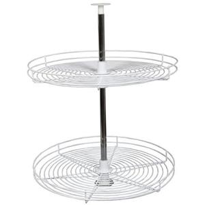 KV FR28STM-W, 28in Wire Full Circle Lazy Susan, KV Series, White, 2-Shelf Set with Hardware, Independently Rotating, Knape and Vogt
