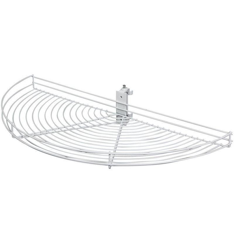 KV HM25-W, 24-1/2 Wire Half Moon Lazy Susan, White, 1-Shelf Set w/ Hardware, 24-1/2 L x 11-7/8 W, Pivot-Out Motion, Min Opening 12-3/8