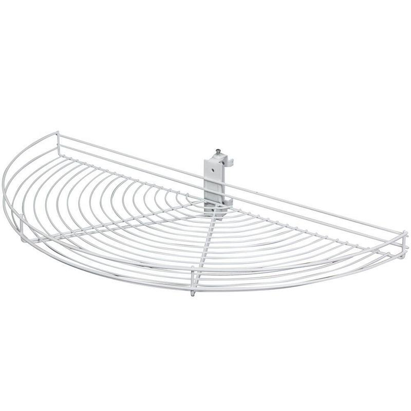 KV HM28-W, 27-1/2 Wire Half Moon Lazy Susan, White, 1 Top-Shelf Set w/ Hardware, 27-1/2 L x 13-3/8 W, Pivot-Out Motion, Min Opening 13-7/8