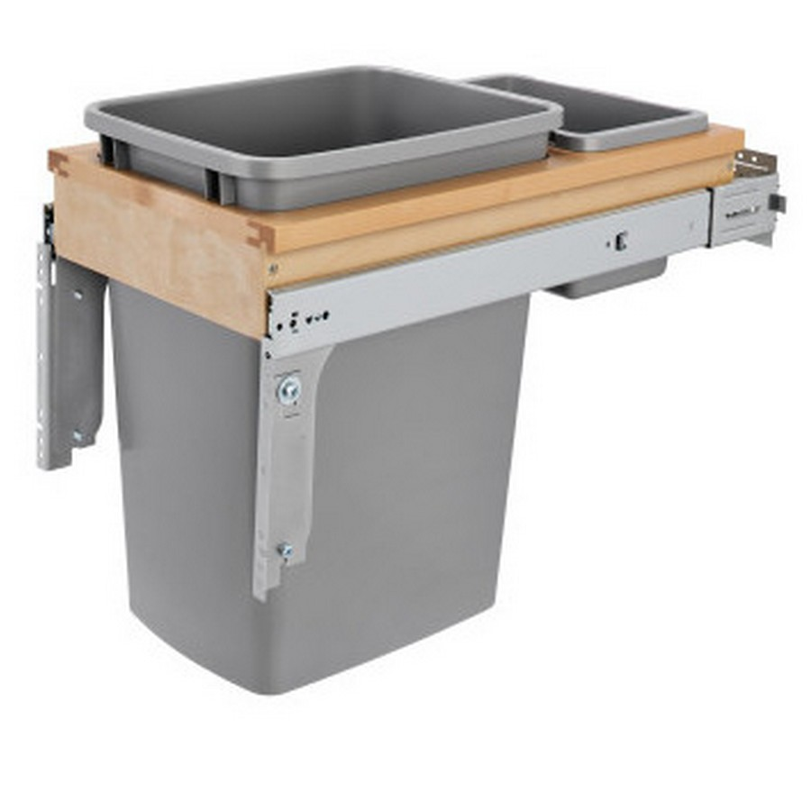 4WCTM Top Mount Single 35 Quart  Waste Container Maple Rev-A-Shelf 4WCTM-12BBSCDM1
