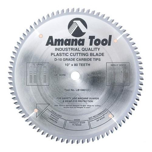 Amana Tool LB10801 Carbide Tipped Non-Melt Plastic 10 Inch dia. x 80T M-TCG, -2 Deg, 5/8 Bore