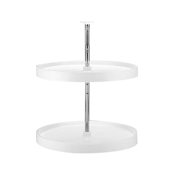 Rev-A-Shelf LD-2062-24-11-1, 24in Polymer Full Circle Lazy Susan, Lazy Daisy Series, White, 2-Shelf Set with Hardware