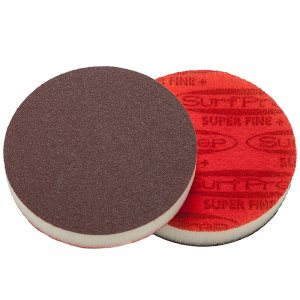 "SurfPrep 3""x1/2"" Red Foam Abrasives Disc, 220 Super Fine Plus, Aluminum Oxide, No Hole, Hook/Loop"