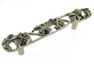 Emenee OR161ABS, Handle, 3 Open Flower, Antique Bright Silver