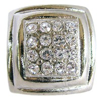 Emenee OR165BS, Knob, Small Rhinestone Square Rim, Bright Silver