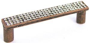 Emenee OR173BS, Pull, Flat Rhinestone, Bright Silver