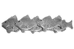 Emenee OR219ABS, Pull, School Of Fish (L), Antique Bright Silver