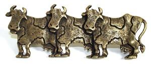 Emenee OR254ABR, Pull, 3 Cows (L), Antique Matte Brass