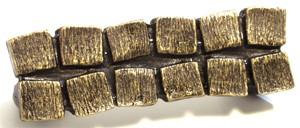 Emenee OR340ABB, Handle, 2 Row Block, Antique Bright Brass