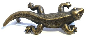 Emenee OR368ABB, Handle, Gecko, Antique Bright Brass